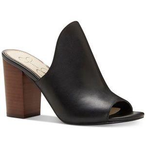 Jessica Simpson Leather Peep Toe Block Heel Slides